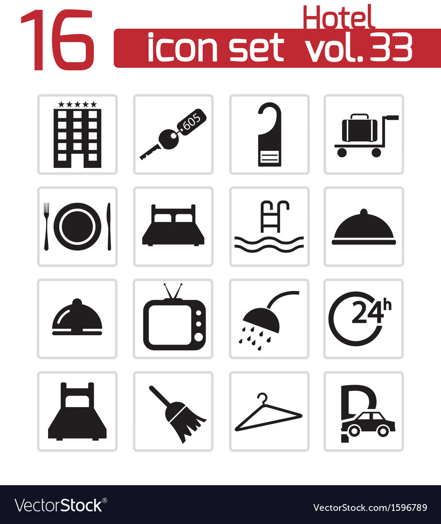Black hotel icon set vector | Price: 1 Credit (USD $1)