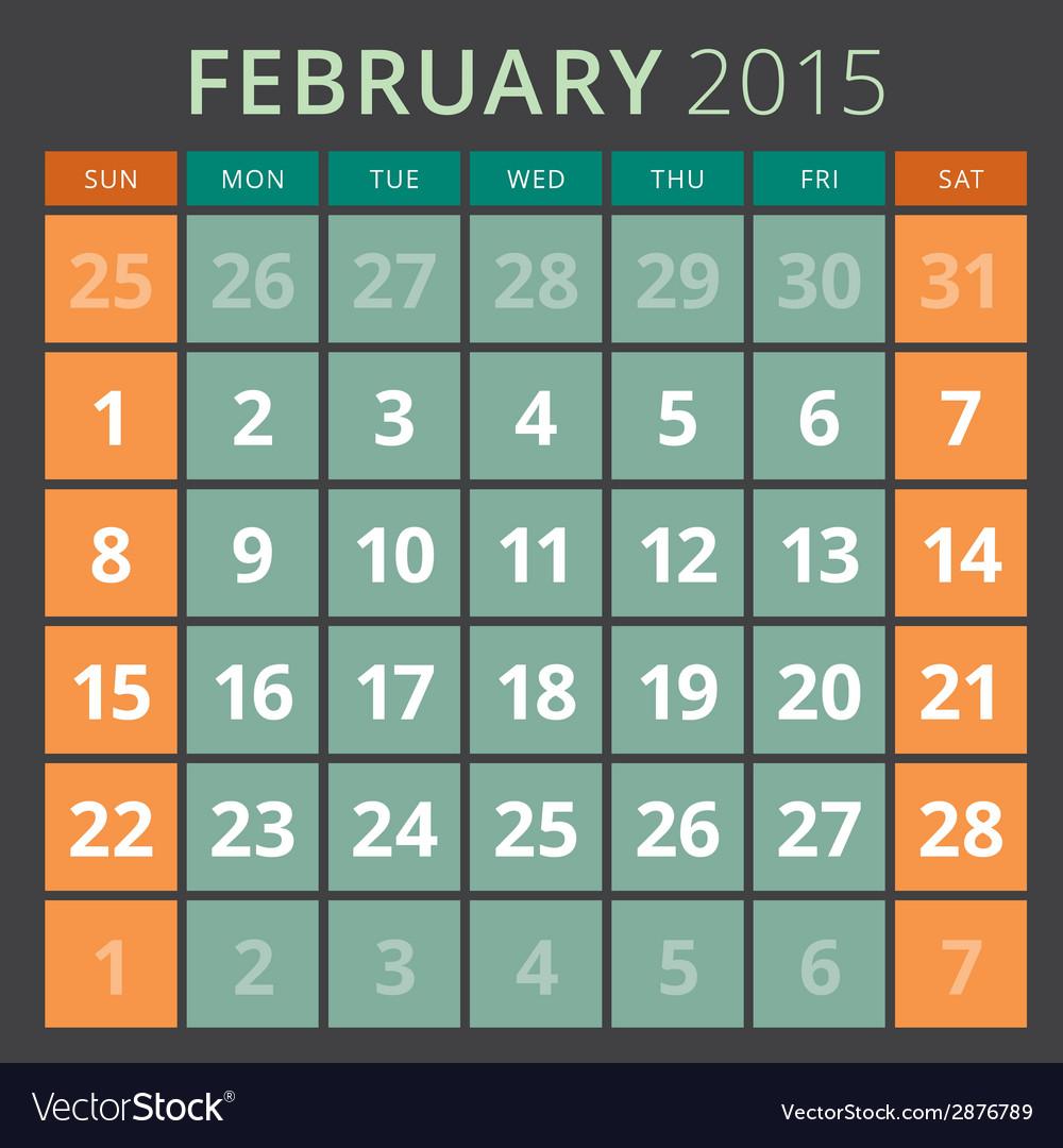 Calendar planner 2015 template week starts sunday vector | Price: 1 Credit (USD $1)