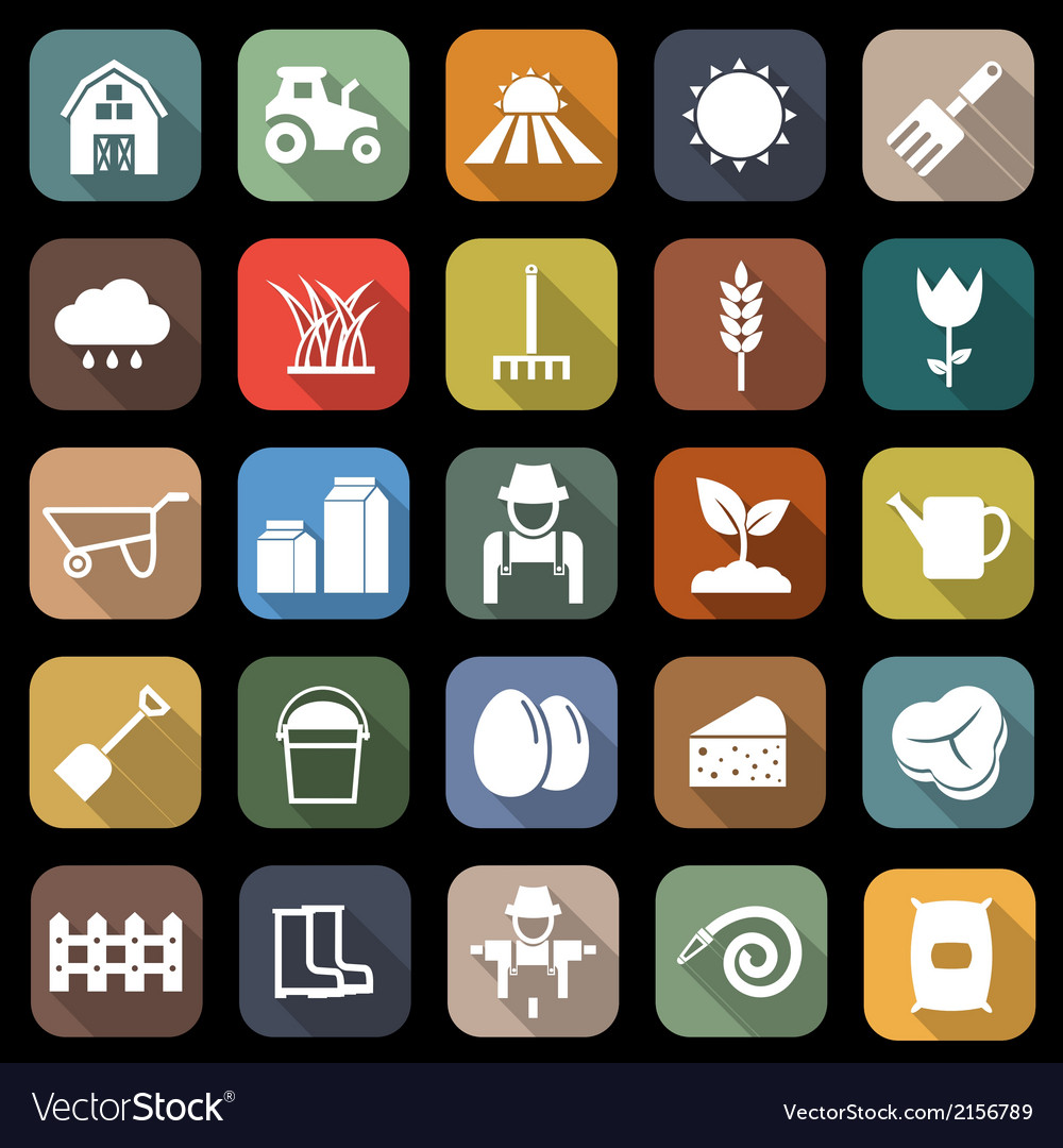 Farming flat icons with long shadow vector   Price: 1 Credit (USD $1)