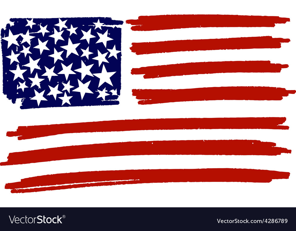Flag of usa united states of america handmade vector | Price: 1 Credit (USD $1)