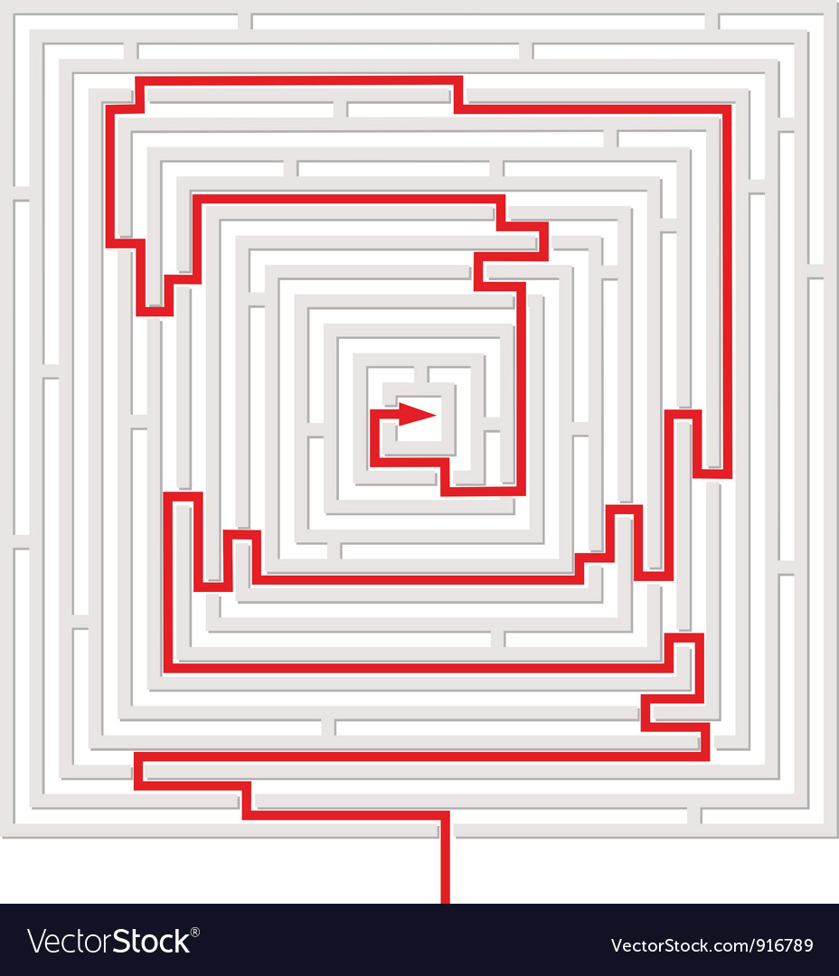 Grey maze with red solution vector | Price: 1 Credit (USD $1)