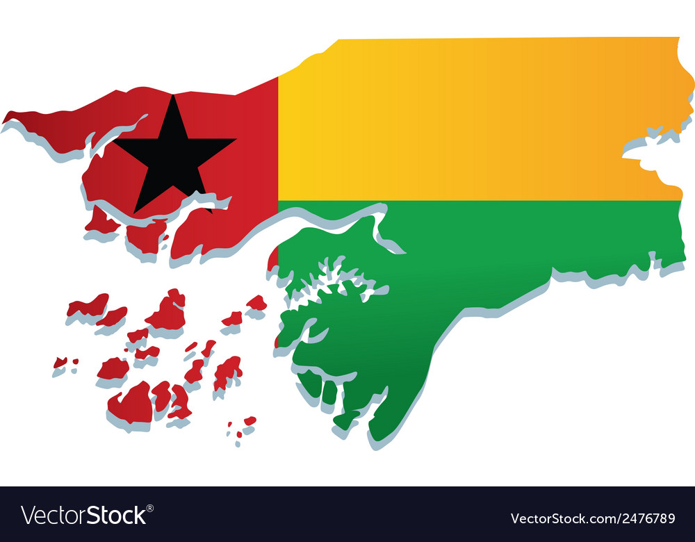 Guinea bissau africa map flag vector | Price: 1 Credit (USD $1)
