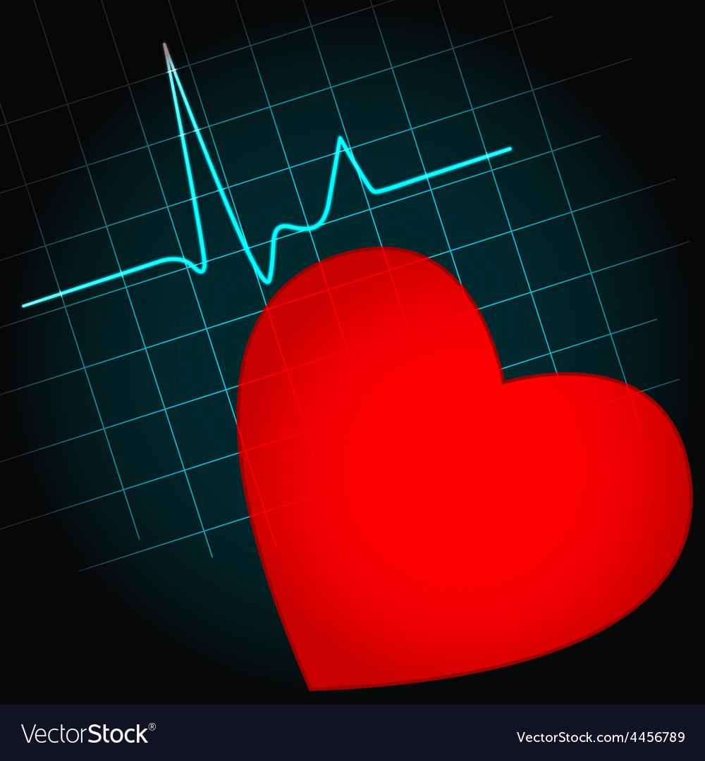 Heart symbol with heartbeat vector | Price: 1 Credit (USD $1)
