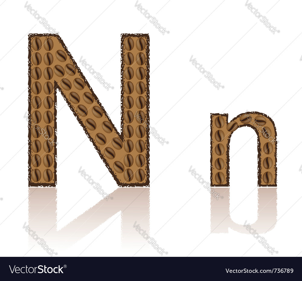 Letter n is made grains of coffee isolated on whit vector | Price: 1 Credit (USD $1)