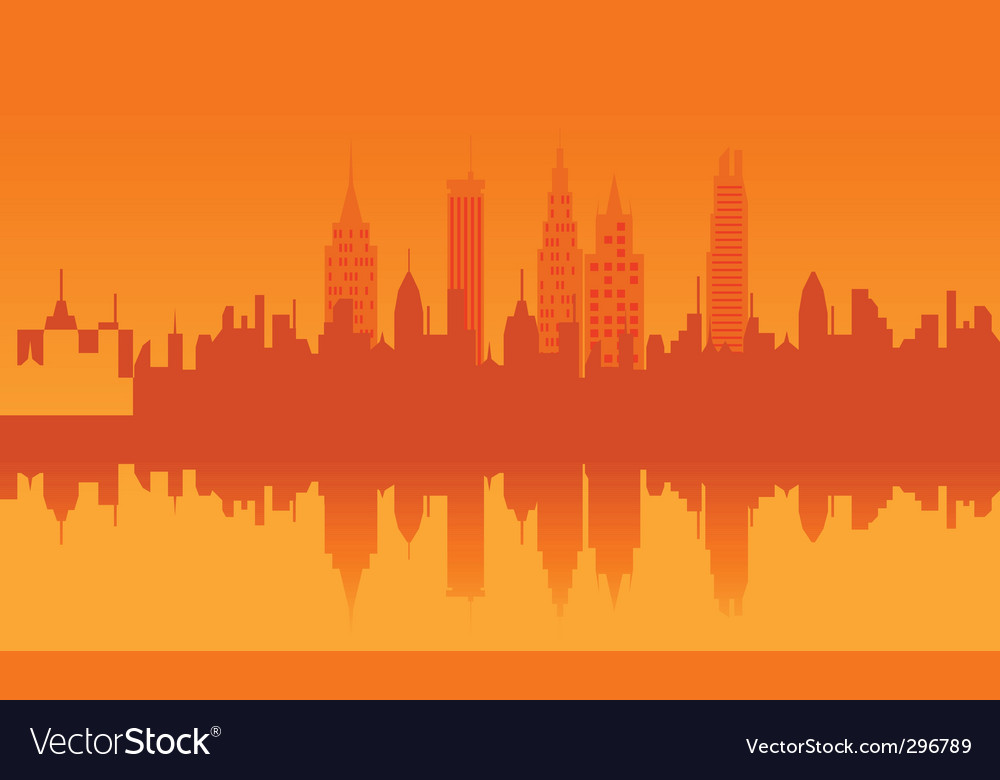 Orange cityscape vector | Price: 1 Credit (USD $1)