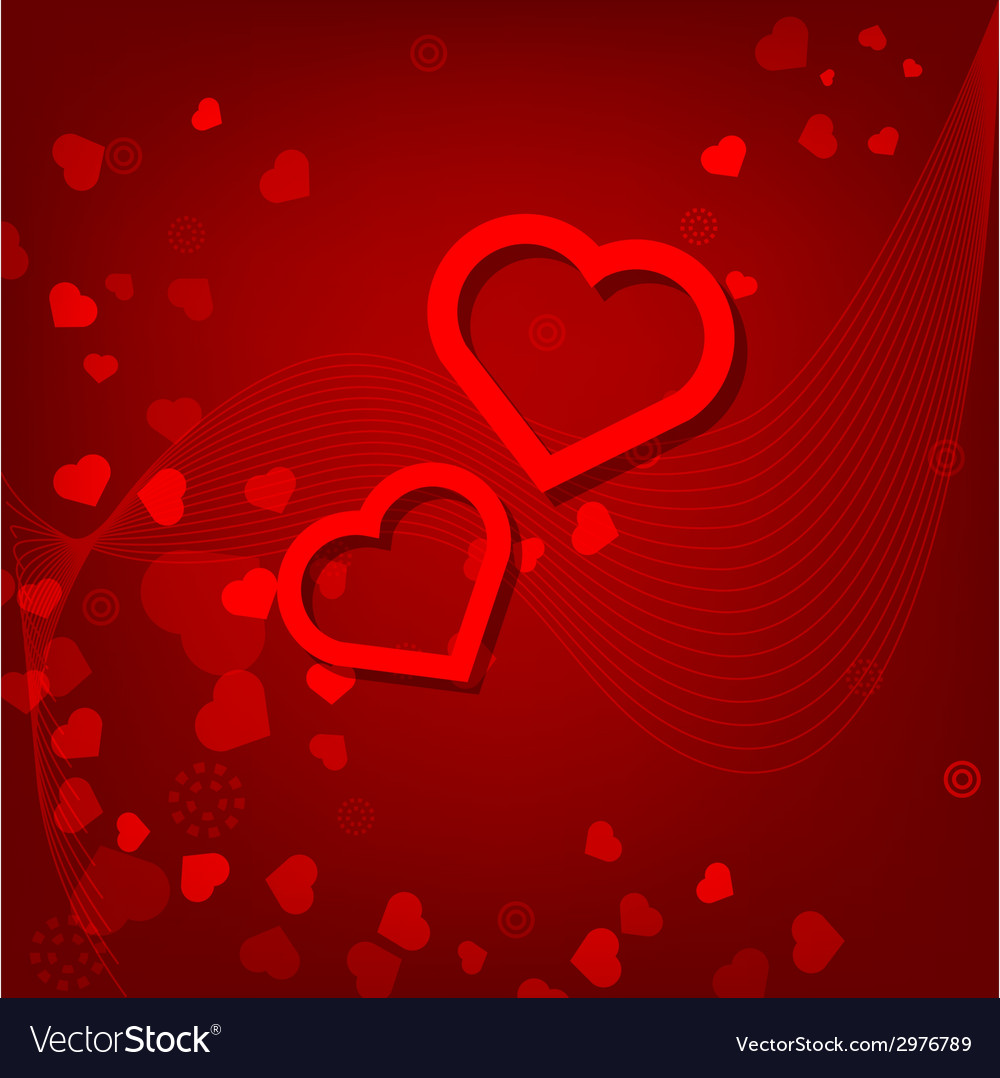 Red hearts valentines day card on red background vector | Price: 1 Credit (USD $1)