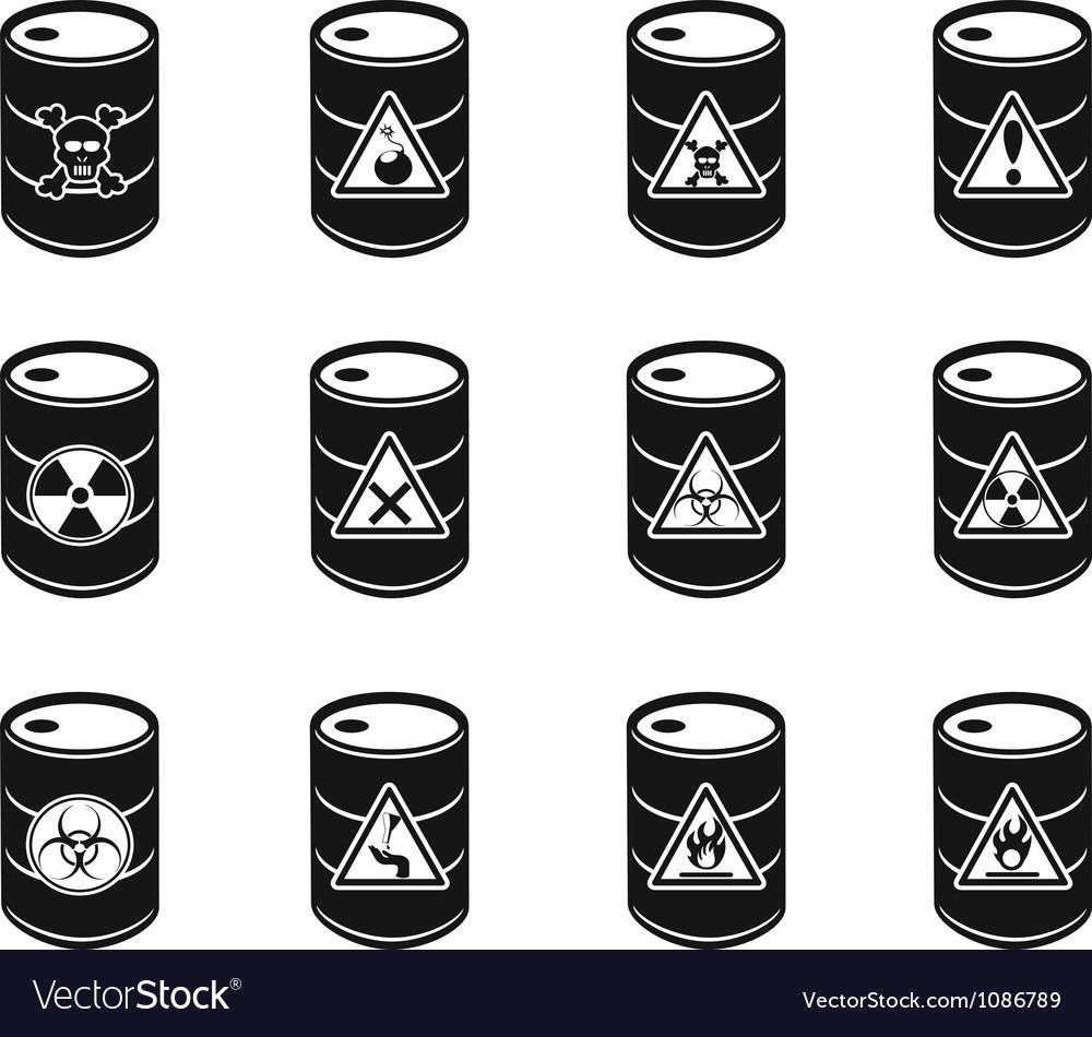 Toxic hazardous waste barrels icon vector | Price: 1 Credit (USD $1)