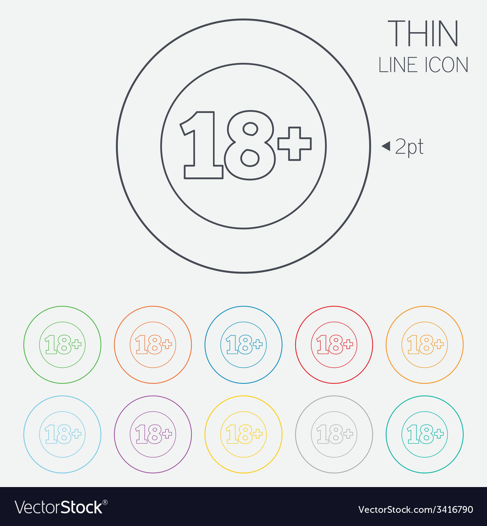 18 years old sign adults content vector   Price: 1 Credit (USD $1)