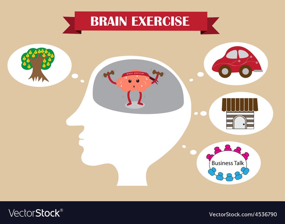 Brain exercise inside head vector | Price: 1 Credit (USD $1)