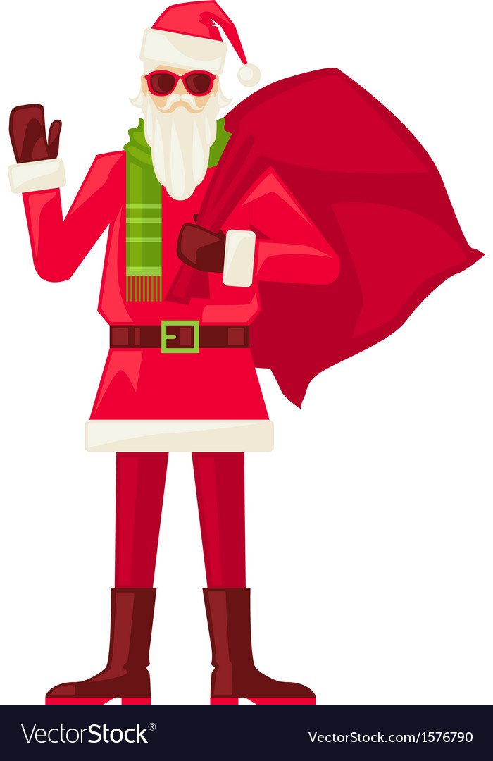Cartoon santa claus in sunglasses isolated vector | Price: 1 Credit (USD $1)