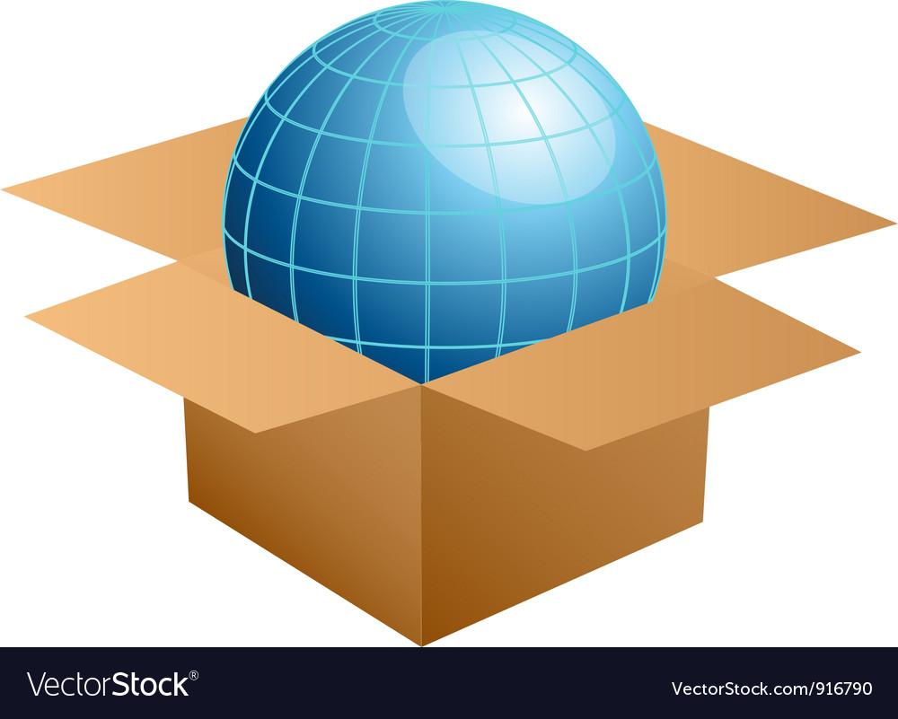Globe in cardboard box vector | Price: 1 Credit (USD $1)