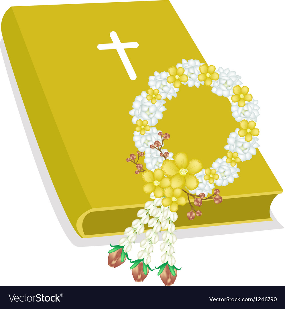 Holy bible with wooden cross and flower garland vector | Price: 1 Credit (USD $1)