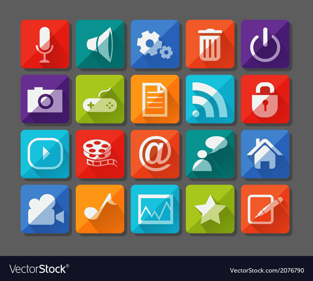 New app icons set in flat vector | Price: 1 Credit (USD $1)