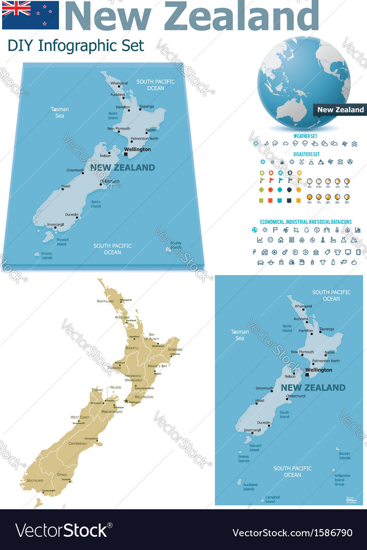 New zealand maps with markers vector | Price: 1 Credit (USD $1)