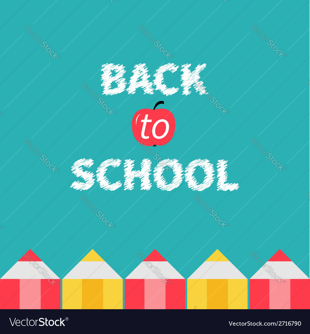 Pencil frame back to school card flat design vector | Price: 1 Credit (USD $1)