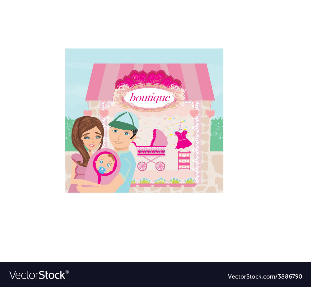Shopping for little girl vector | Price: 1 Credit (USD $1)