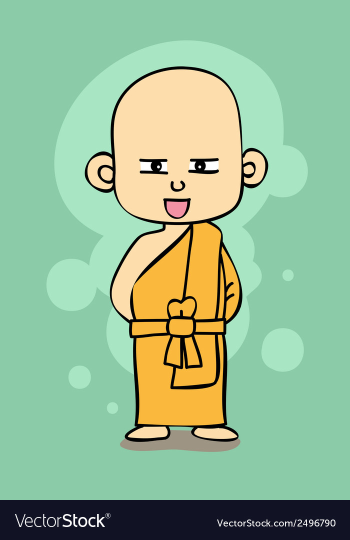 Thai buddhist monk cartoon style vector | Price: 1 Credit (USD $1)