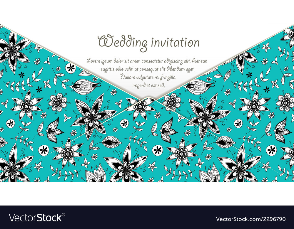 Wedding invitation card with blue floral pattern vector | Price: 1 Credit (USD $1)