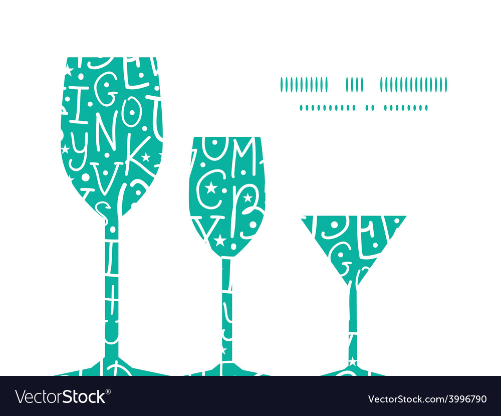 White on green alphabet letters three wine vector | Price: 1 Credit (USD $1)
