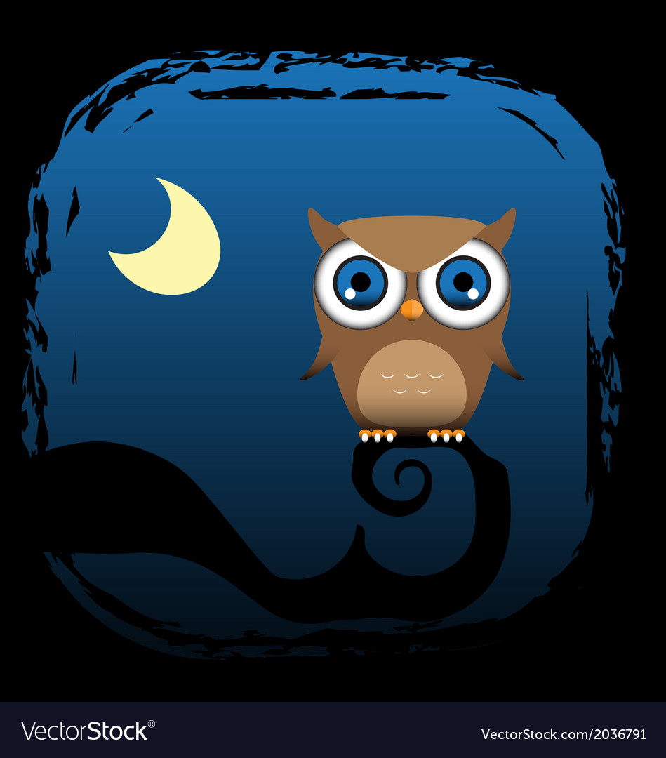 A brown owl sits in a tree vector   Price: 1 Credit (USD $1)