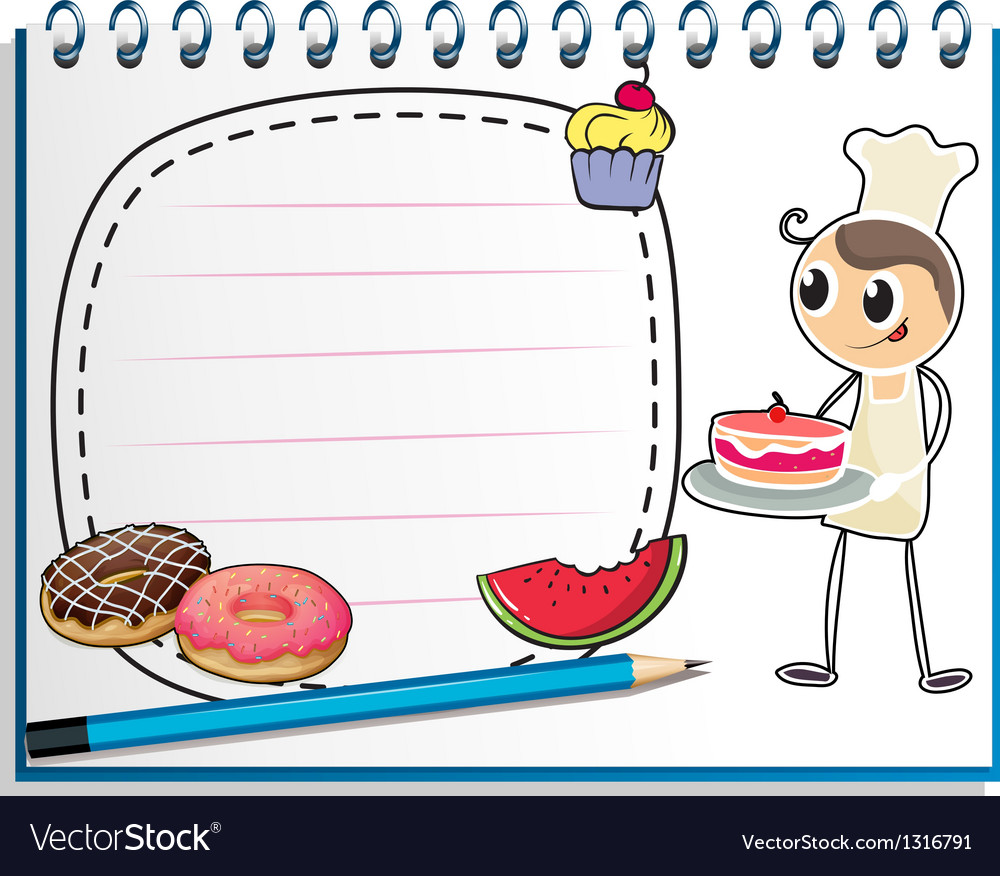 A notebook with a drawing of a chef and foods vector | Price: 1 Credit (USD $1)