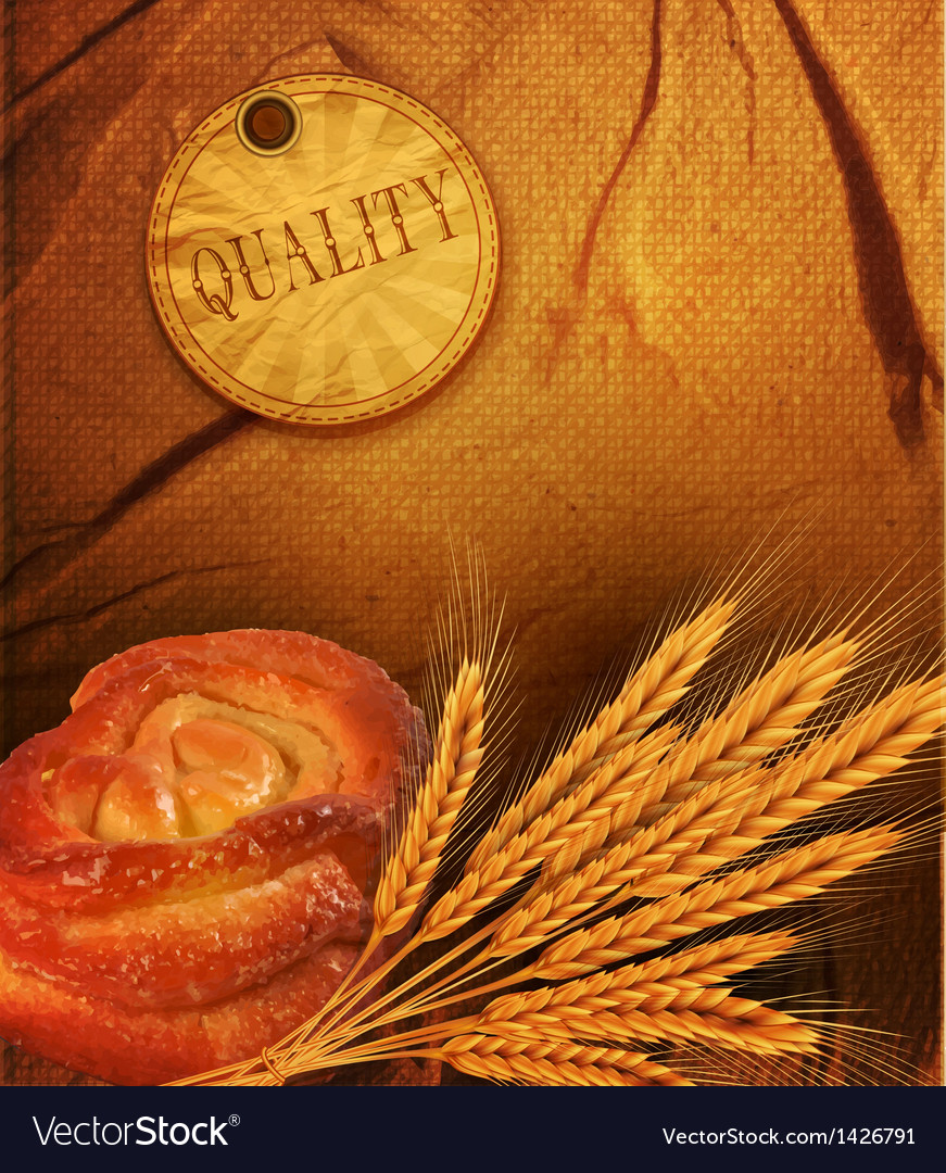 Background with ears of wheat and white bre vector | Price: 1 Credit (USD $1)