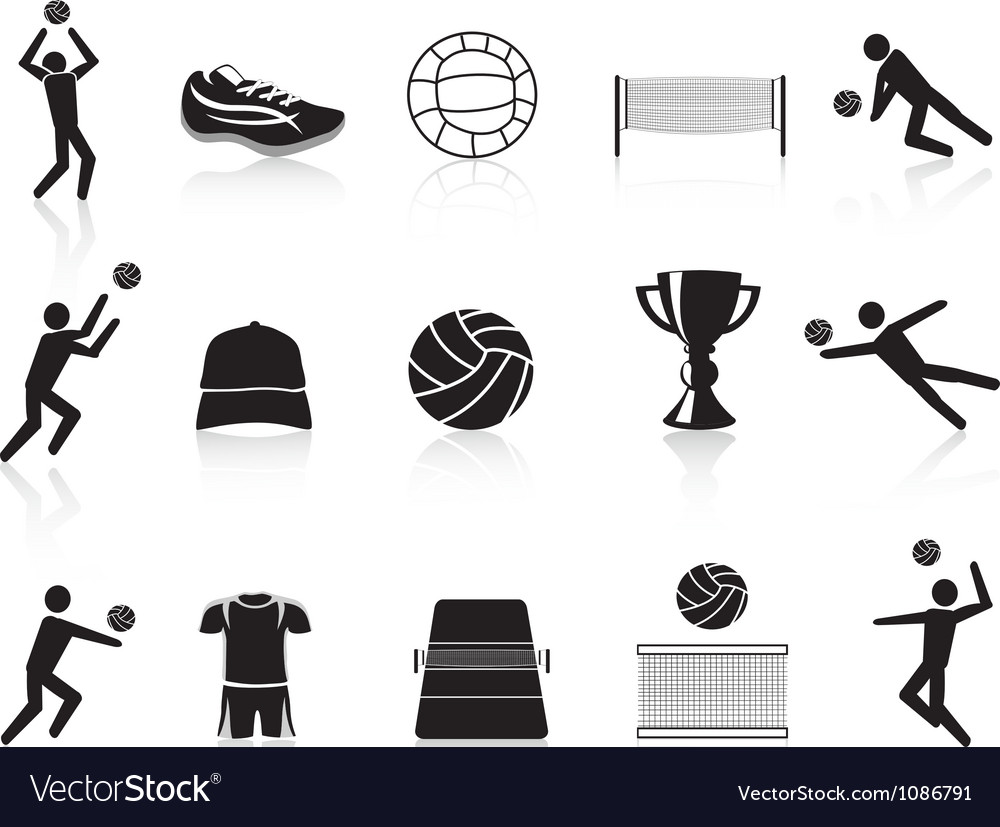 Black volleyball icons set vector   Price: 1 Credit (USD $1)