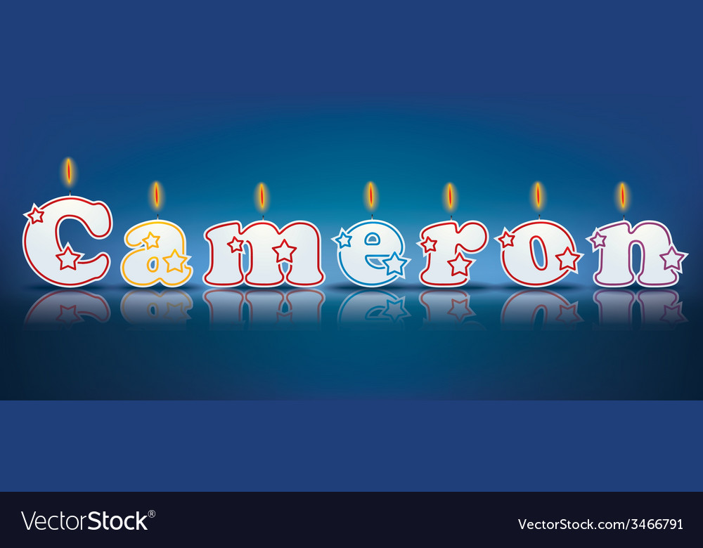 Cameron written with burning candles vector | Price: 1 Credit (USD $1)