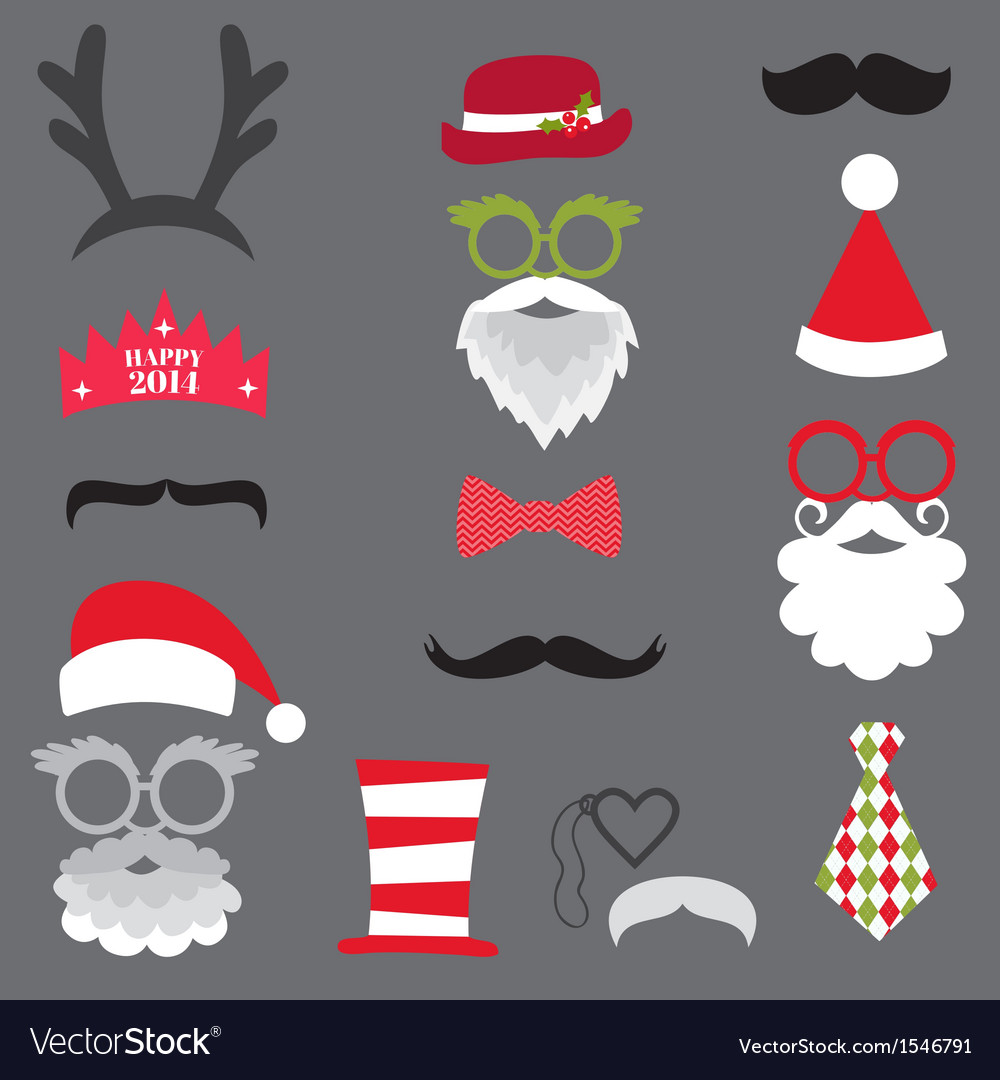 Christmas retro party set vector | Price: 1 Credit (USD $1)