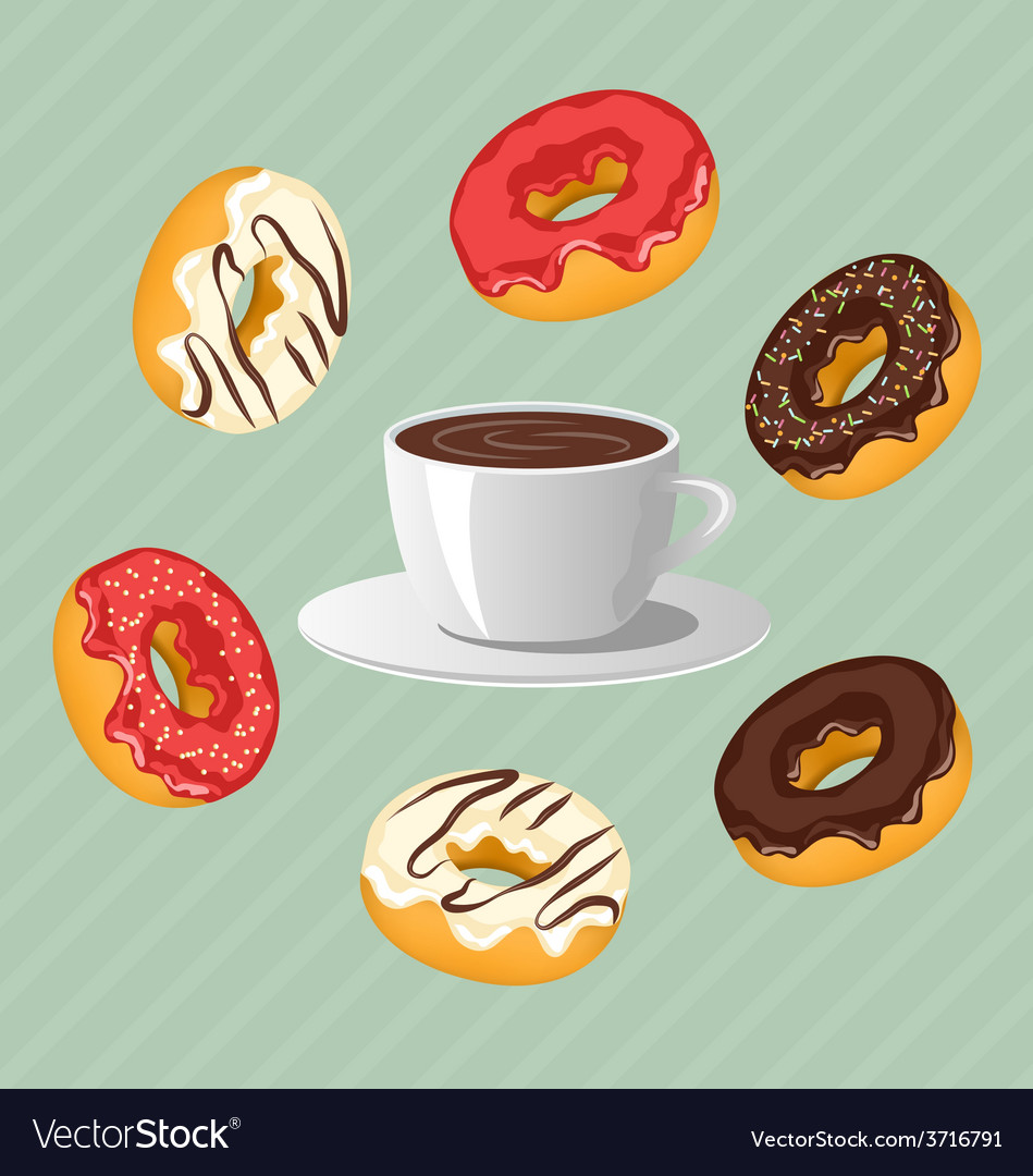 Donuts with cup of coffee on blue vector | Price: 1 Credit (USD $1)