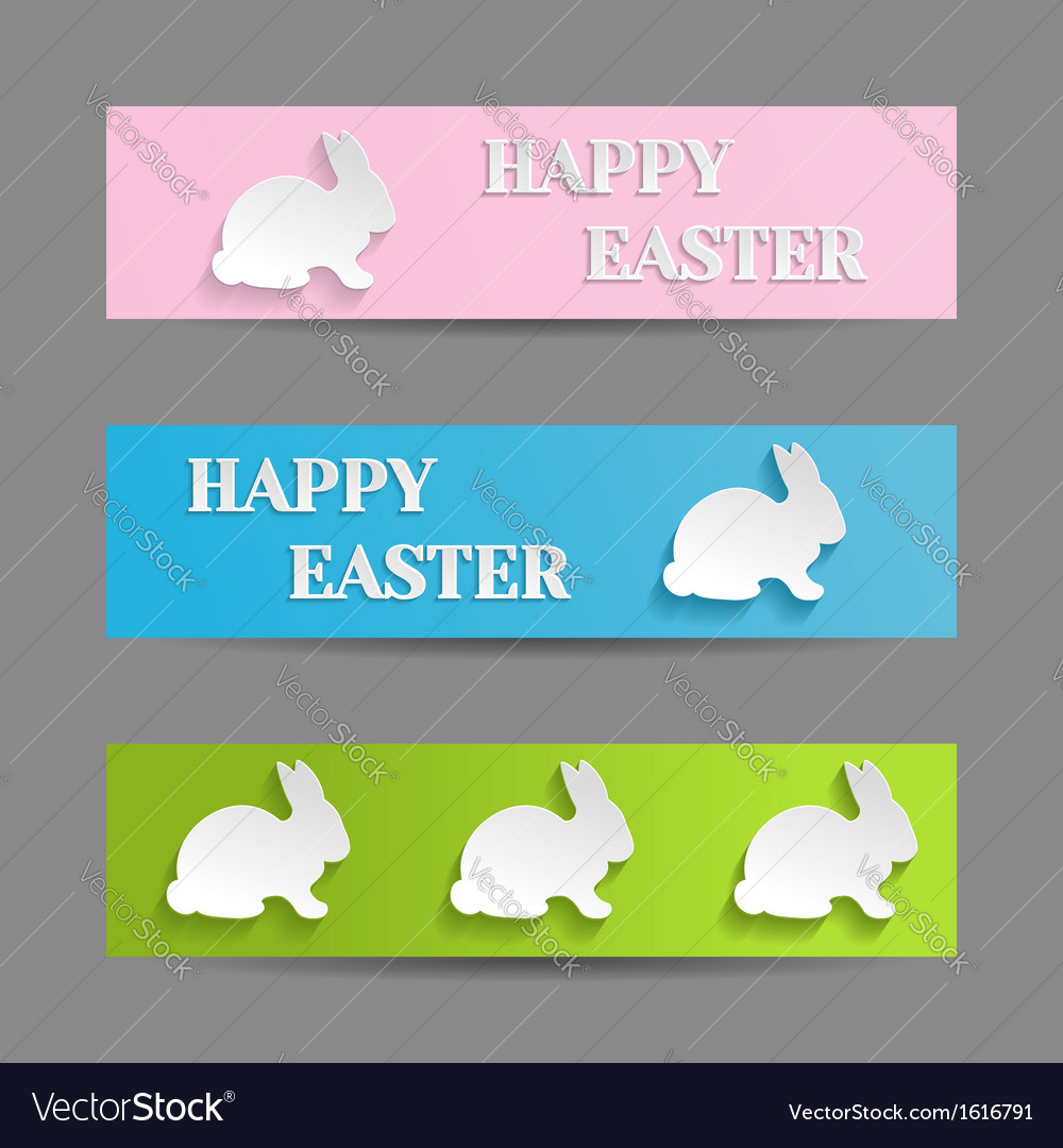 Easter banners set with rabbit bunny vector | Price: 1 Credit (USD $1)
