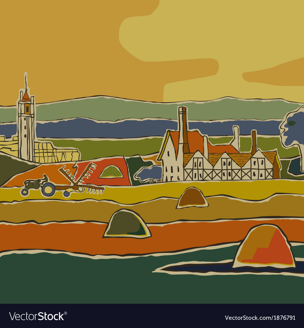 European landscape vector | Price: 3 Credit (USD $3)