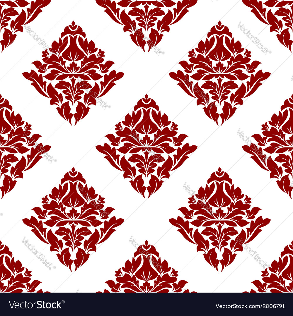 Floral seamless pattern with dark red flowers on vector | Price: 1 Credit (USD $1)