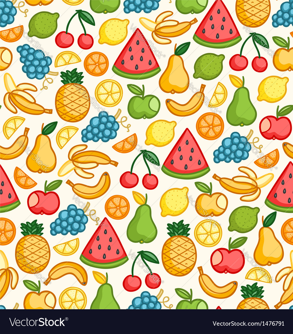 Fruits doodle pattern in color vector | Price: 1 Credit (USD $1)