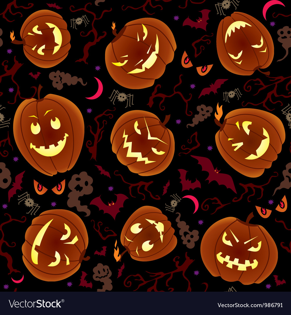 Halloween pumpkins seamless pattern vector | Price: 1 Credit (USD $1)