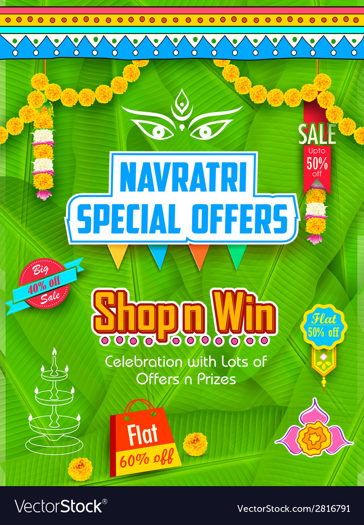 Happy navratri offer promotions vector | Price: 1 Credit (USD $1)
