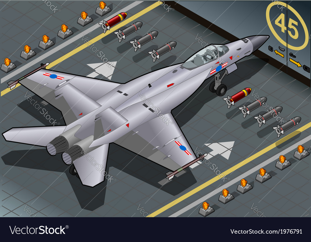 Isometric fighter bomber landed in rear view vector | Price: 1 Credit (USD $1)
