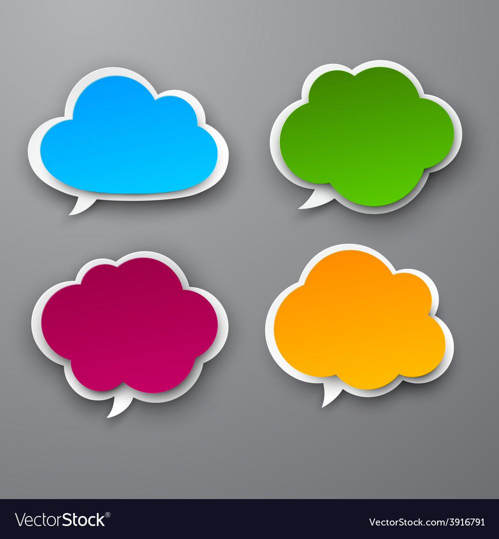 Set of paper color clouds vector   Price: 1 Credit (USD $1)