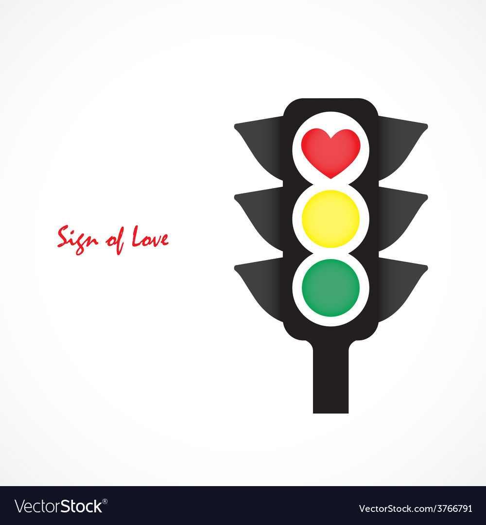 Traffic light icon with red heart sign vector | Price: 1 Credit (USD $1)