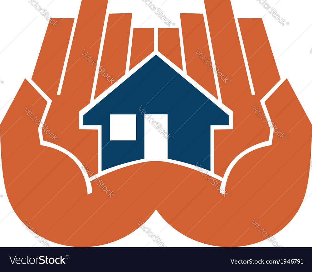 Two hands cupping a house vector | Price: 1 Credit (USD $1)