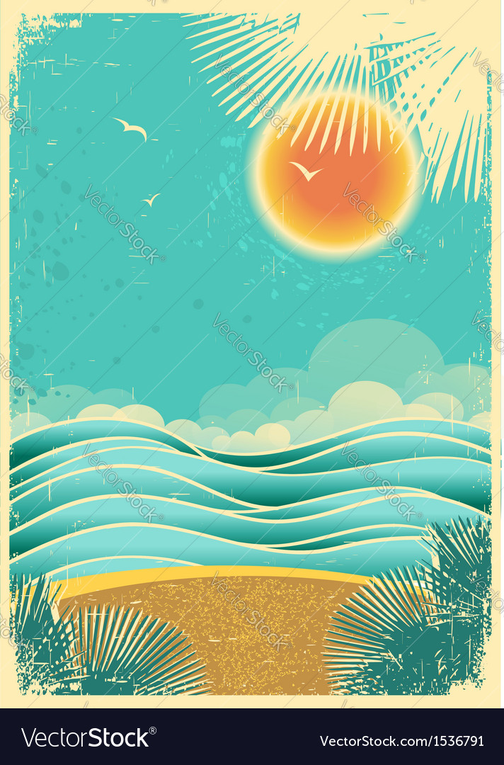 Vintage nature tropical seascape background with vector | Price: 1 Credit (USD $1)