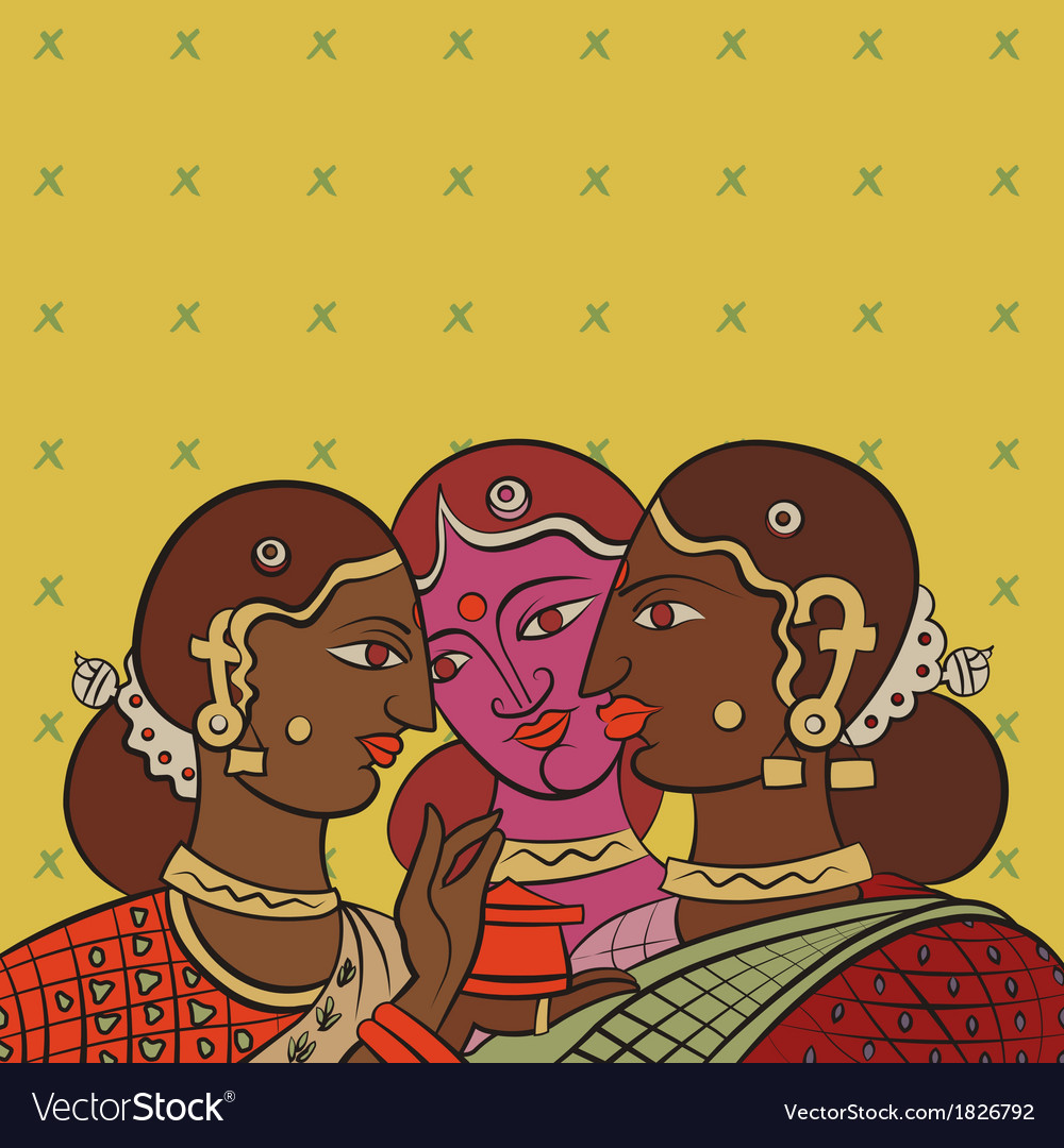 Indian girls gossiping after collecting tea vector | Price: 1 Credit (USD $1)