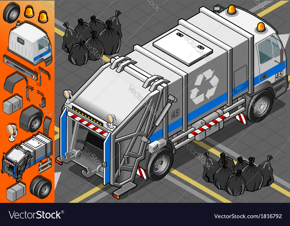 Isometric white garbage truck in rear view vector | Price: 1 Credit (USD $1)