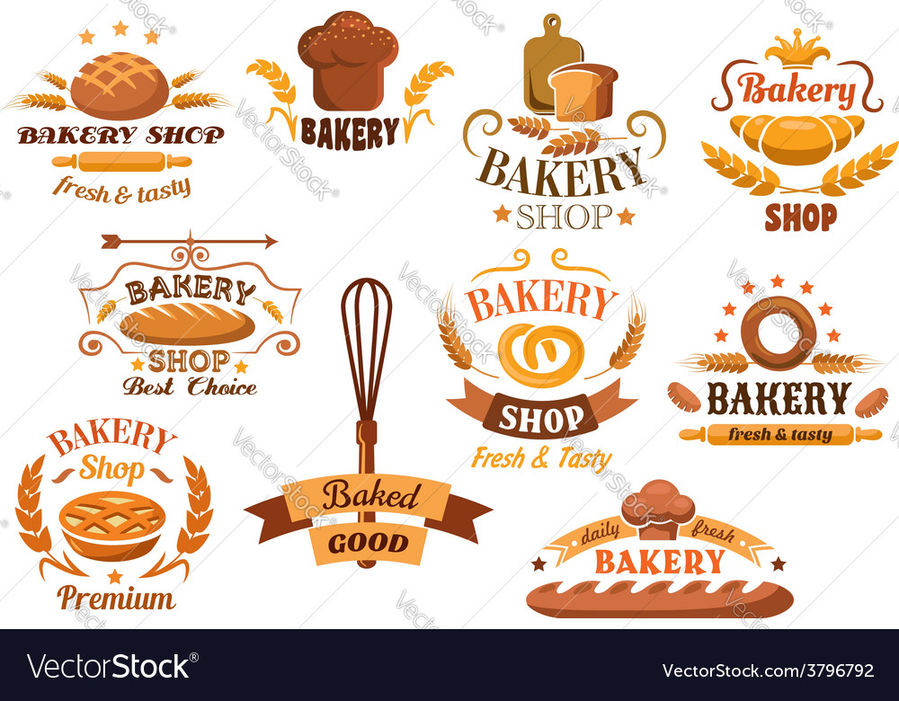 Large set of bakery labels or badges vector   Price: 1 Credit (USD $1)
