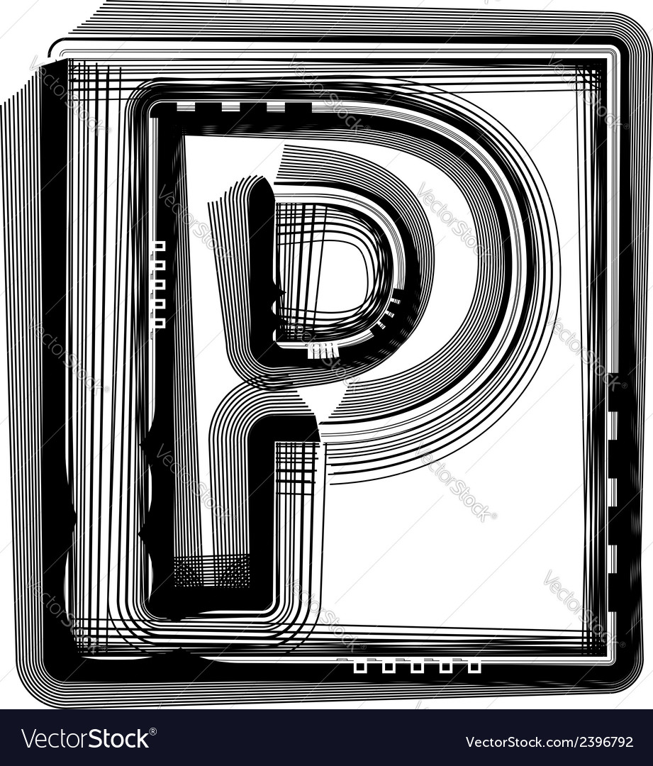 Striped font letter p vector | Price: 1 Credit (USD $1)