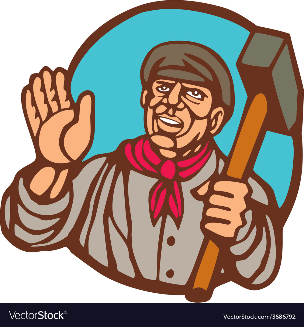 Union worker with sledgehammer linocut vector | Price: 1 Credit (USD $1)