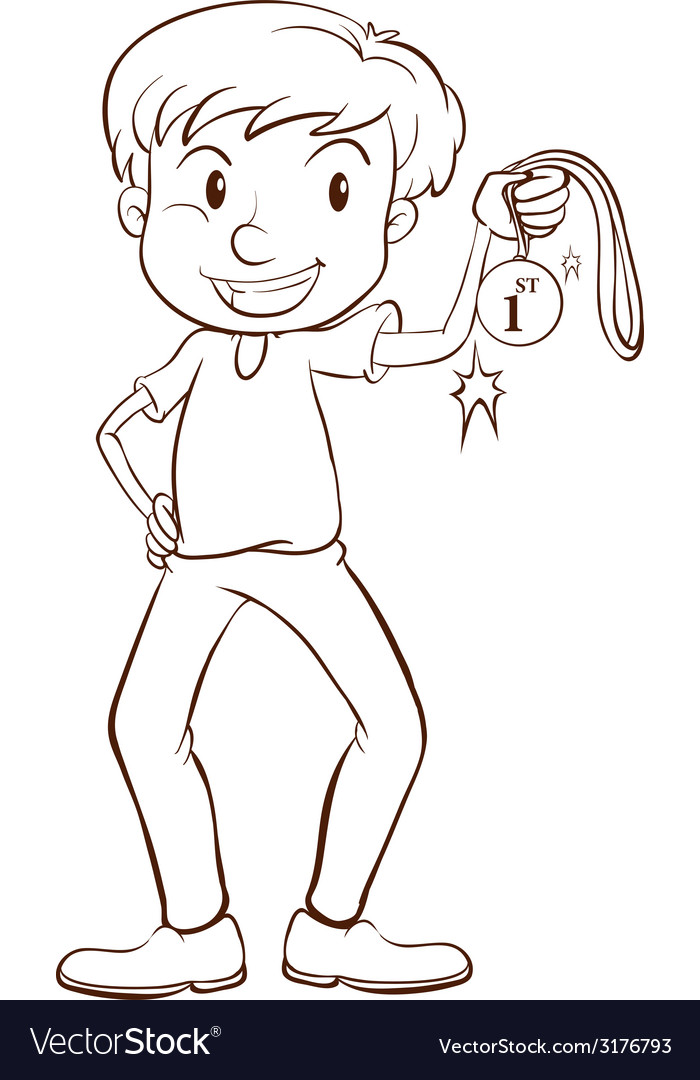 A plain sketch of a winner holding a medal vector | Price: 1 Credit (USD $1)