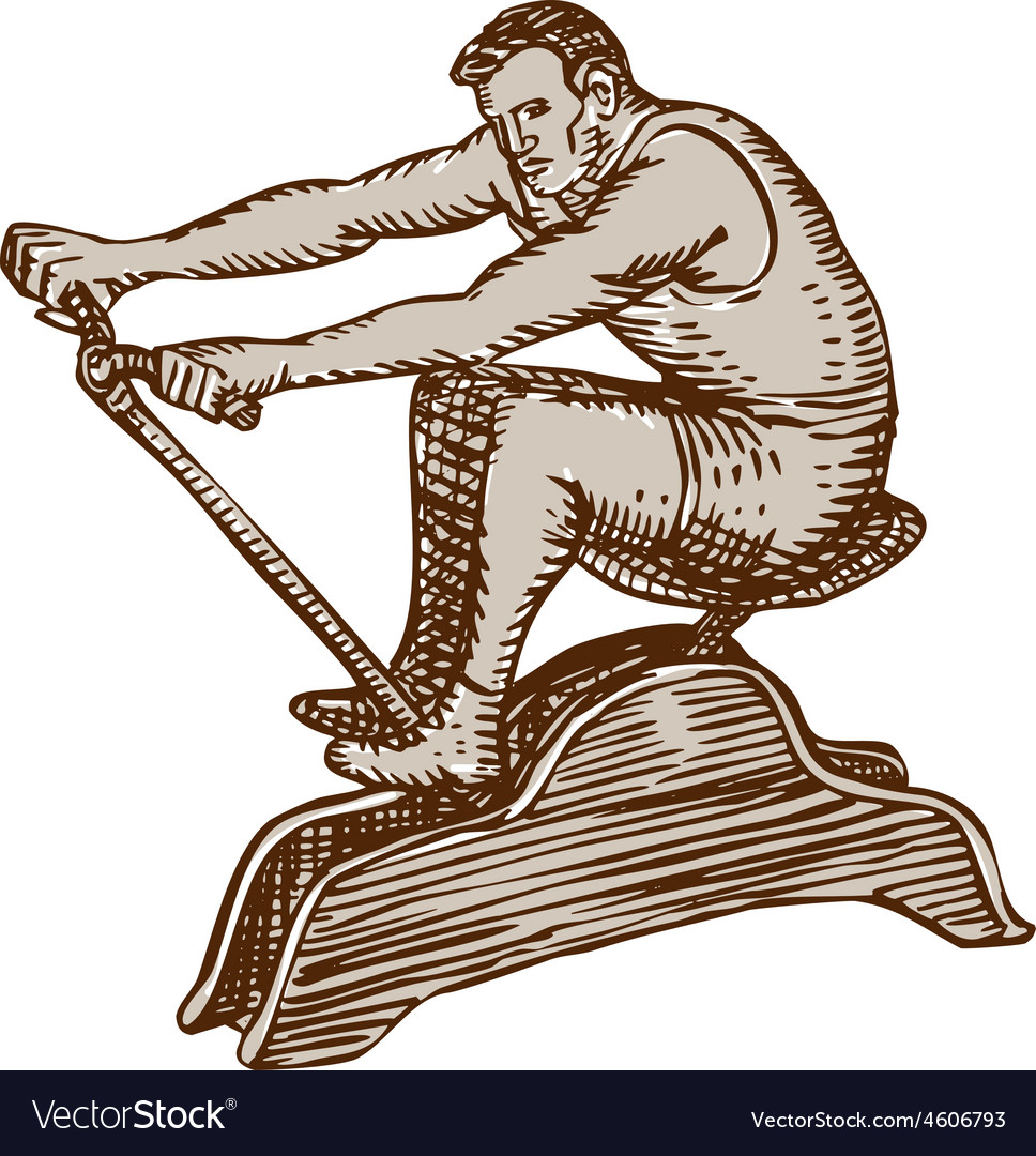 Athlete exercising vintage rowing machine etching vector | Price: 1 Credit (USD $1)
