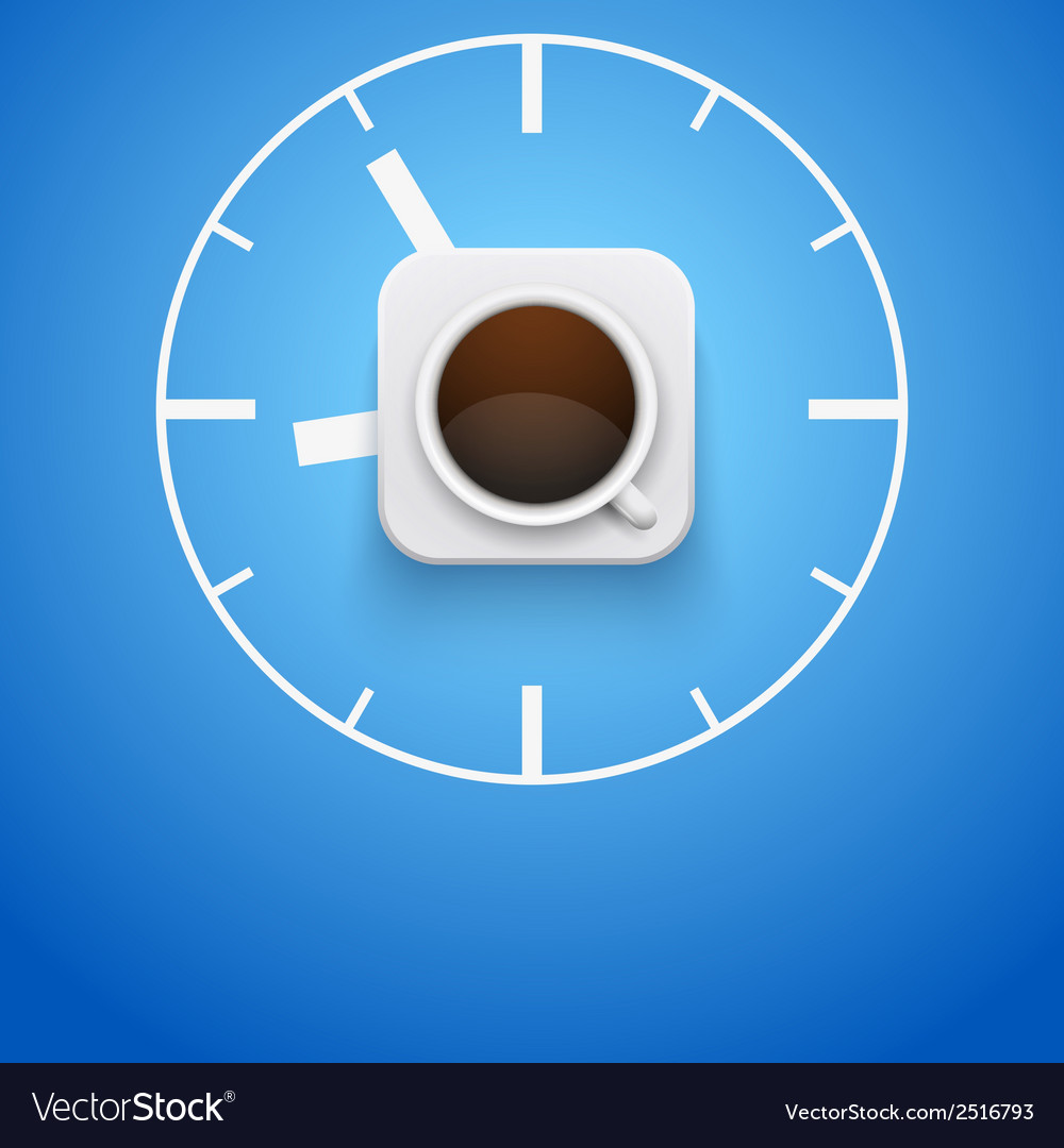 Background cup of coffee and time vector | Price: 1 Credit (USD $1)