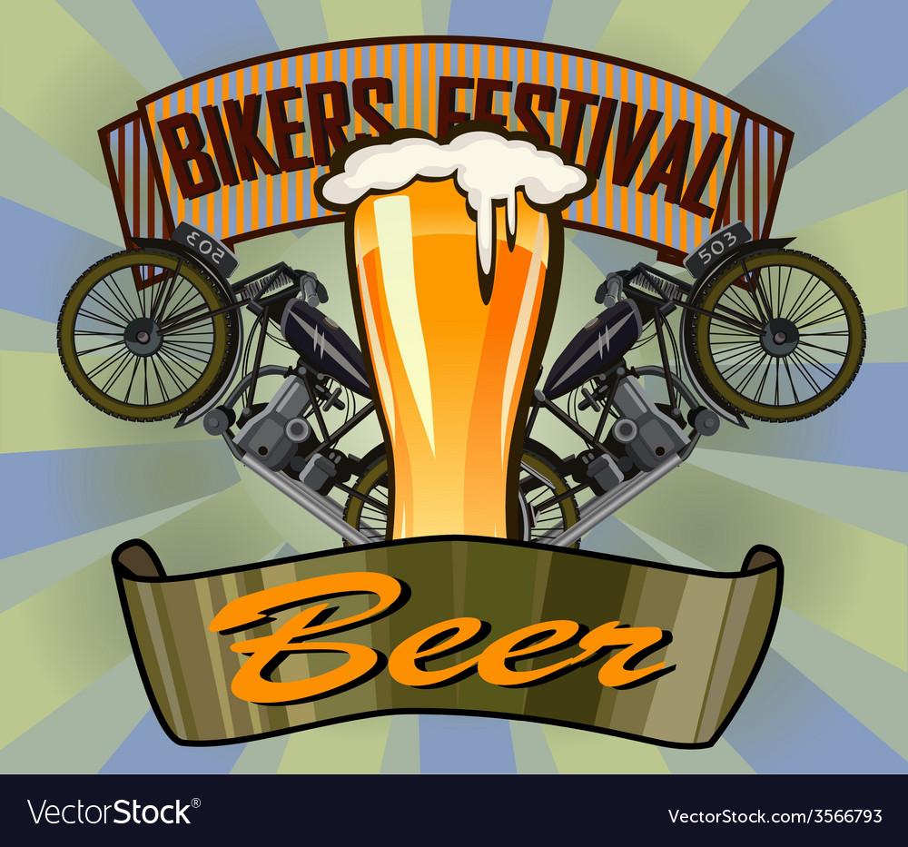 Bikers festival retro beer vector | Price: 1 Credit (USD $1)
